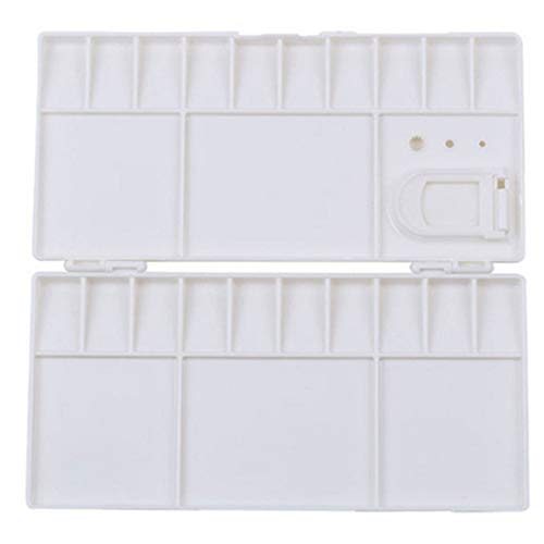 Folding Paint Trays Box Watercolor Plastic Palettes with 25 Compartments, Thumbhole Holders (White)