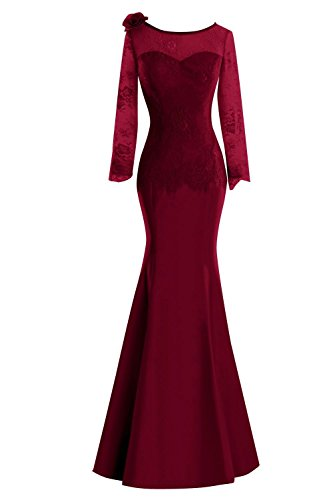 SDRESS Women's Long Sleeve Crewneck Floor Length Mermaid Mother Bridesmaid Dress Burgundy Size 10