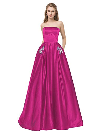 (Satin Strapless Formal Gowns with Beaded Pockets Lace Up Back Prom Dresses Long (US16, Fuchsia))