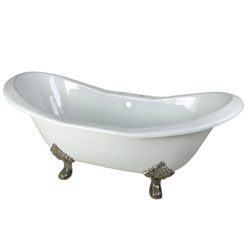 Kingston Brass Aqua Eden VCT7D7231NC8 Cast Iron Double Slipper Clawfoot Bathtub with Satin Nickel Feet and 7-Inch Centers Faucet Drillings, 72-Inch, White (Cast Iron Clawfoot Tub Feet)