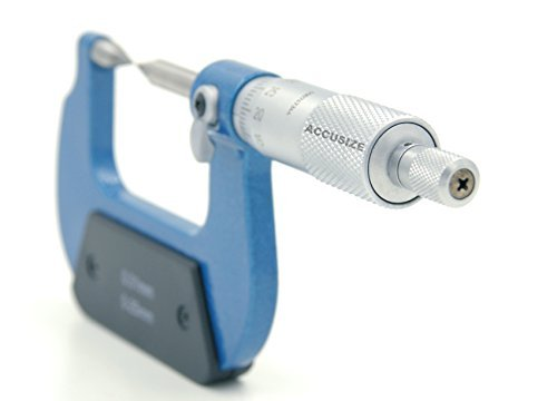 AccusizeTools - 0-1'' x 0.0001'' Carbide Tipped Point Micrometer, in Fitted Box, 2004-1001