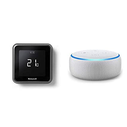 Echo Dot gris claro + Honeywell T6 - Termostato programable inteligente Wifi cableado
