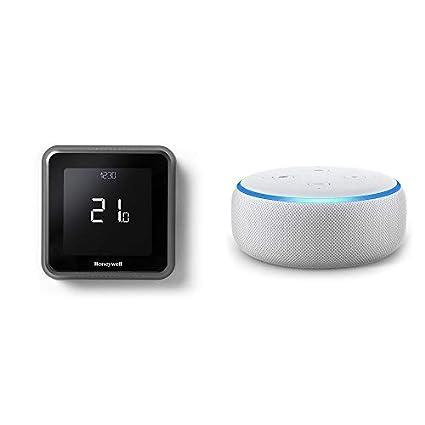 Echo Dot gris claro + Honeywell T6 - Termostato programable inteligente Wifi cableado