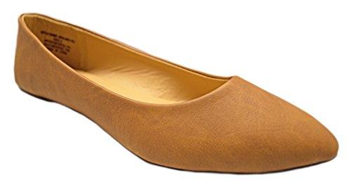 Charles Albert Femmes Semi-pointu Amande Orte Ballet Confort Doux Slip Sur Les Chaussures Chaussures Cognac