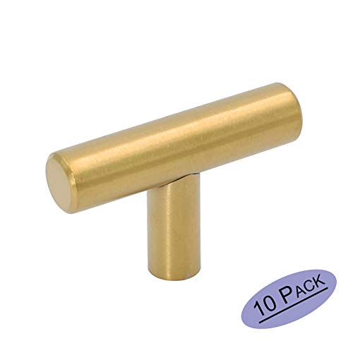 Goldenwarm 10Pack Single Hole Gold Cabinet Knobs and Pulls Door Cupboards Drawers Bedroom Furniture Handles 50mm/2in Overall Length Brushed Brass Custom Painted Drawer Knobs