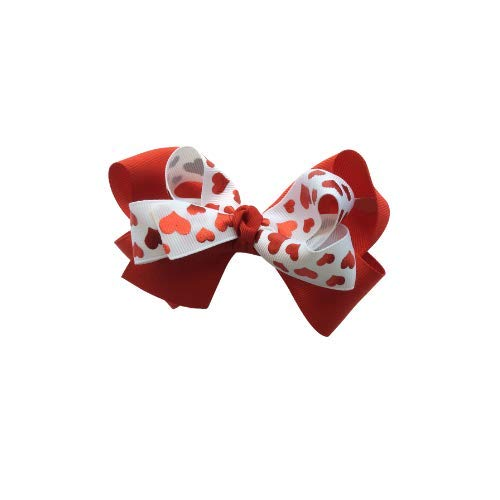 Hearts on red valentine bow