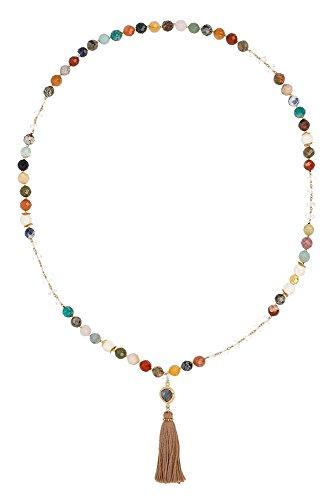 Chan LUU Multi Tassel Long Necklace with Semi-Precious Stones ()