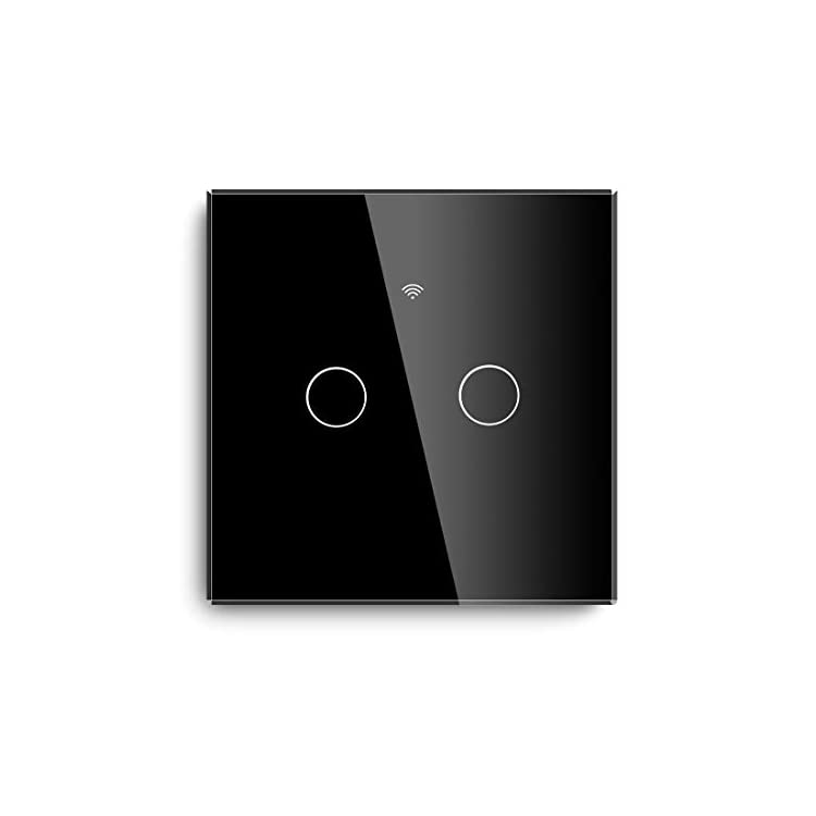 BSEED WiFi Smart Touch Switch Works with Tuya,Alexa and Google Home 2 Gang 1 Way Black Glass Touch Sensor WiFi Single…
