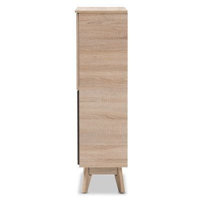 Storage Cabinet Two Tone Finishing 2 Door Each Door Reveals 3 Shelving Spaces 4 Open Shelves Wood Material Office Furniture