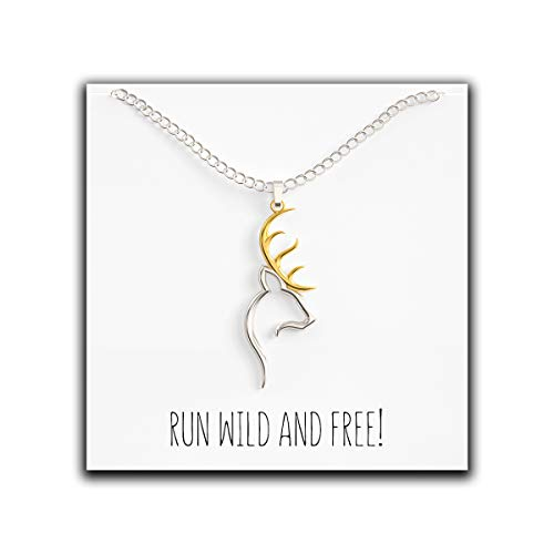 Happy Kisses Deer Necklace with Tribal Antlers Cute Pendant for Animal Lovers - Perfect Buck Charm for Woman