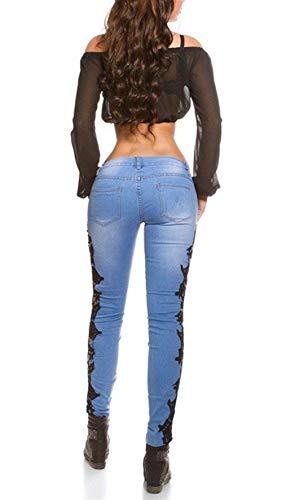 Schwarz Elasticizzato Jeans Elasticizzati Pizzo Denim In E 20 Con Slim Lunghi Matita Anni Bottone A Donna Tasche Pantaloni wBwTF