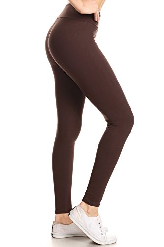 Leggings Depot YOGA Waist REG/PLUS Women's Buttery Soft Solid Leggings 16+Colors (One Size (Size 0-12), Brown)