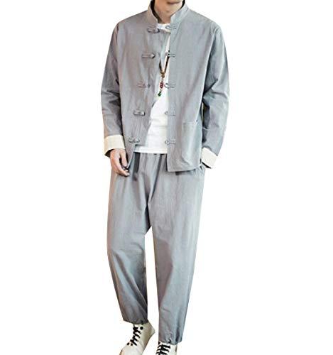 Andopa Men Linen Tang Suit Relaxed-Fit 2-Piece Plus-Size Tracksuit Jog Set Light Grey 2XL -