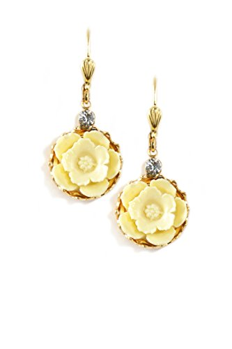 Clara Beau Clear Swarovski Glass Crystal accented Goldtone Resin White Flower Earrings EC371 G-Cream]()
