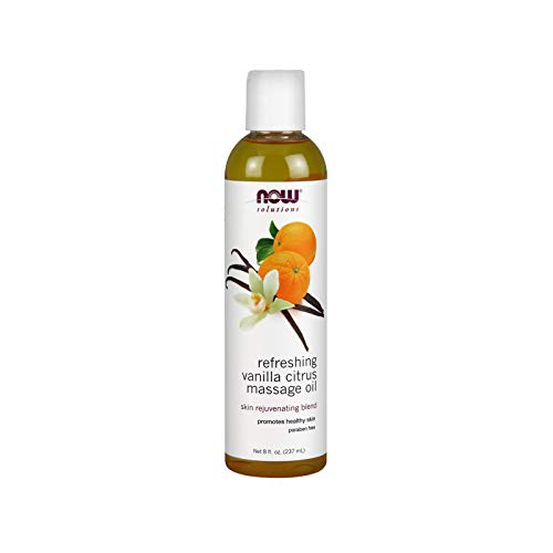 NOW Solutions Refreshing Massage Oil, Vanilla Citrus, 8-Ounce