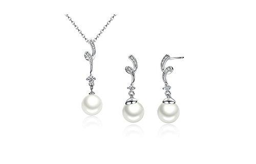 Collares Cadenas de Mujer Moda 2018 Joyería Fina White Pearl Jewelry Set for Women CO0021