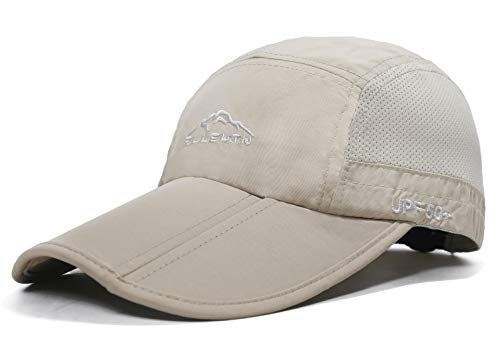 ELLEWIN Baseball Cap Quick Dry Travel Hats UPF50+ Cooling Portable Sun Hats for Sports Golf Running Fishing Outdoor Research with Foldable Long Large Bill, A-khaki1, M-L-XL