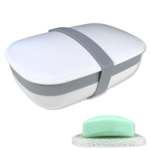 kiasona Travel Soap case Box, soap Holder Dish Container with Sponge and Silicone Band, Strong Sealing, Leak-Proof, Portable, Perfect for Home, Camping, Gym, Hiking, Outdoor Activities/White