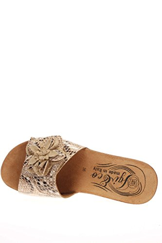 0,25ct–IGI & Co Damen Pantoffel Boden Keilabsatz dni 15858. beige Steckdosenleiste Bandverschluss Beige