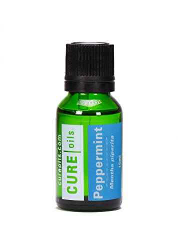 Peppermint Essential Oil For Aromatherapy Cough Nausea Bad Breath Indigestion Nasal Congestion Respiratory Stomach Problems Stress Relief Oil - 100% Pure Therapeutic Grade - 15ml Blend by Cure Oils