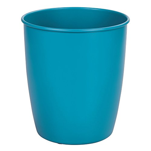 mDesign Round Metal Small Trash Can Wastebasket, Garbage Container Bin for Bathrooms, Powder Rooms, Kitchens, Home Offices - Durable Steel with Matte Teal Finish by mDesign