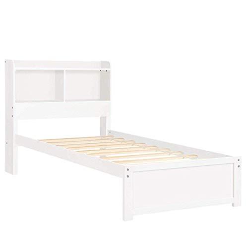 (8HAOWENJU Bookcase Platform Bed Twin Bed Frame Mattress Foundation with Storage Headboard Platform Storage Bed Bedroom Furniture,Warm Gift,3 Colors (Color : White))