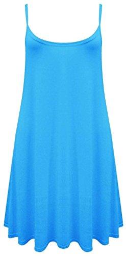 Pour Femmes Uni Swing Évasé Cami À Bretelles Décontracté Gilet Robe Grandes tailles - Turquoise, Femme, S/M(EU 36-38)