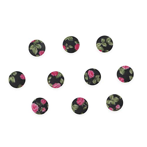 Seeking ROAM Flatback Buttons, 1/2 Inch Flat Back, Floral Fabric Covered Button, 10 Pieces, Black (Black) (Button Floral Fabric)