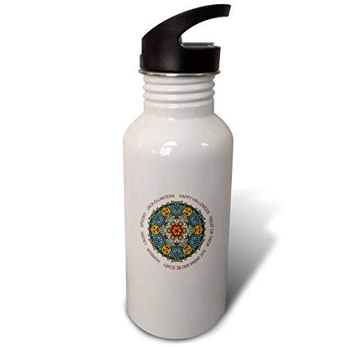 3dRose Alexis Design - Mandala Seasons Holidays Text - Happy Halloween Elegant Colorful Mandala, Text. Funny Gift - Flip Straw 21oz Water Bottle (wb_300044_2)