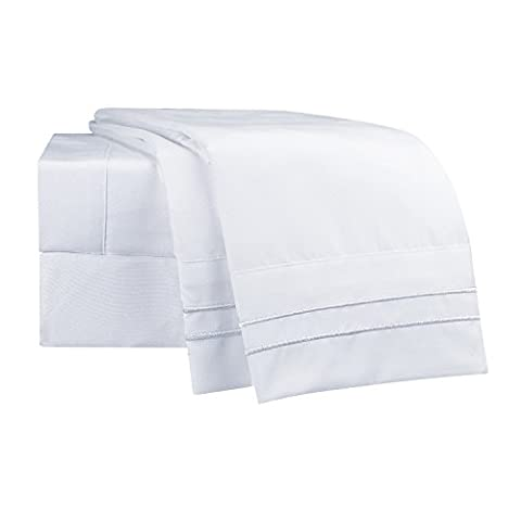 "Clara Clark Supreme 1500 Collection 3pc Bed Sheet Set- Twin (Single) Size, White (75""x39"" Fits - Sateen Single"
