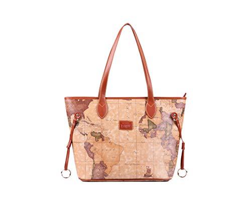 (Yan Show Women's PU Leather Elegant Totes Vogue Shoulder Bags Retro Map Pattern Bag (Brown))