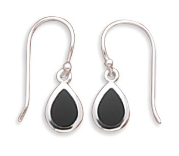 Pear Inlay Black Simulated Onyx French Wire Earrings Silvertone