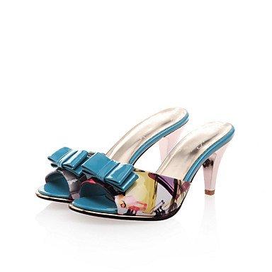 LFNLYX Zapatillas de mujer & Flip-Flops comodidad estival Charol parte & vestido de noche casual tacón gatito Bowknot azules conjunta dividida caminando Blue