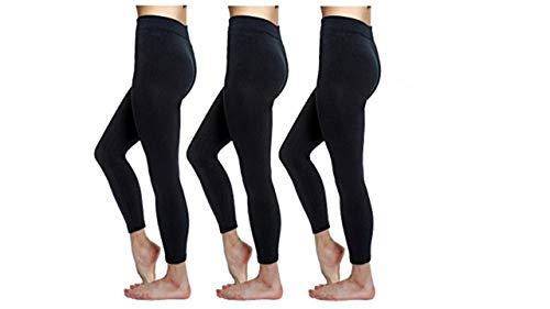 Love Charm Women's Seamless Fleece Lined Basic Leggings, Black (3, S/M)