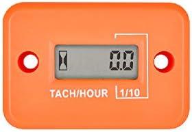 Jayron Tach-Medidor de Horas,Tacómetro Inductivo LCD Digital,Potente Temporización,Medición de RPM,Diseño Impermeable,para Motor de Gasolina,Cortacésped,Motocicleta (2/4 tiempos) (naranja)