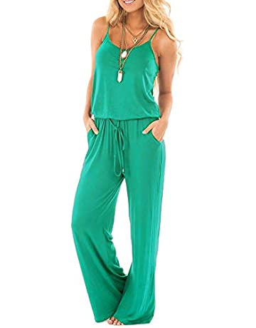 46bd7d449c0f sullcom Women Summer Solid Sleeveless Wide Leg Jumpsuit Casual Spaghetti  Strap Stretchy Long Pant Rompers