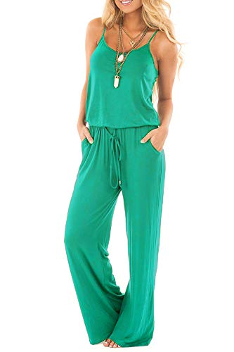 sullcom Women Summer Solid Sleeveless Wide Leg Jumpsuit Casual Spaghetti Strap Stretchy Long Pant Rompers (XX-Large, Light Green) ()