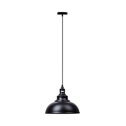 Lightess Black Pendant Light Industrial Hanging Lights Metal Barn Farmhouse Kitchen Lighting Edison Ceiling Mount Fixture, OLL466