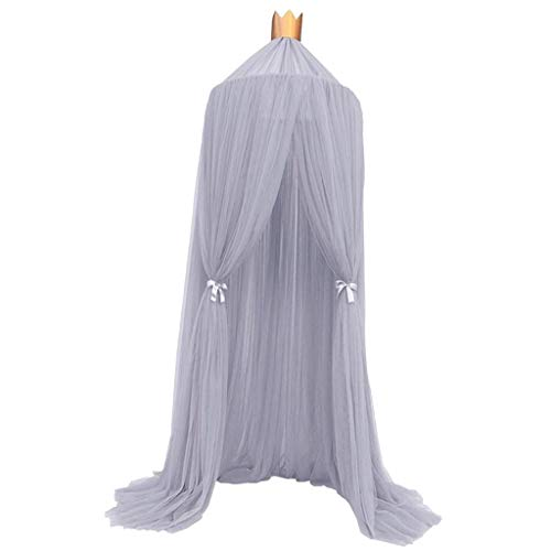- Flameer 240cm Fairy Bed Canopy Mosquito Net Curtains for Kids Baby Crib, Round Dome Kids Castle Play Tent Hut Bedroom Decoration - Grey