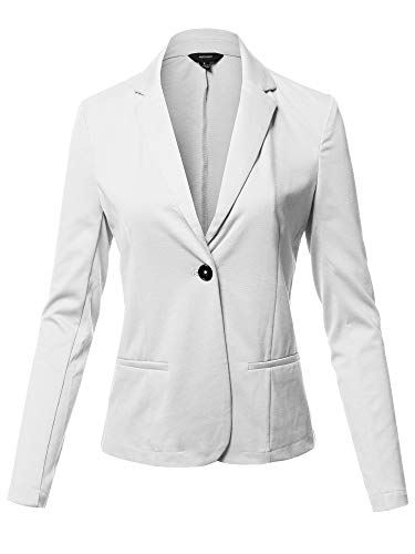 (Solid Formal Single Button Up Long Sleeve Blazer Jacket White Size)