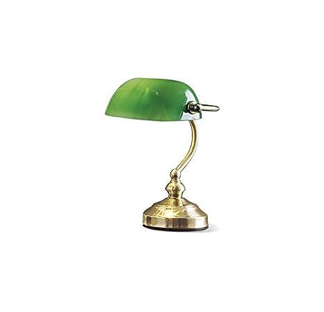 Lampada Da Scrivania In Ottone.Lampada Da Tavolo In Ottone Lucido Con Vetro Verde Misure H 25 Cm