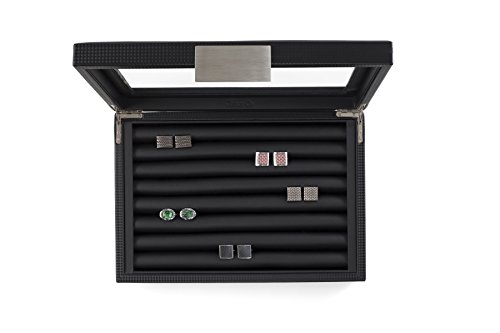 Glenor Co Cufflink Box for Men - Holds 70 Cufflinks - Luxury Display Jewelry Case -Carbon Fiber Design - Metal Buckle… 3