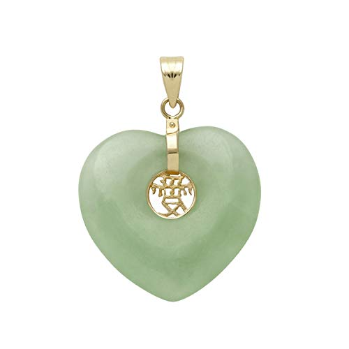 (Belacqua 14k Yellow Gold Natural Jade Heart Charm Pendant Necklace, no Chain )