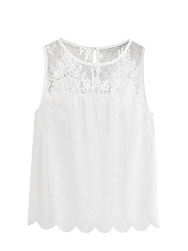 - Romwe Women's Cute Lace Yoke Scallop Trim Sleeveless Tank Tee Top White XS