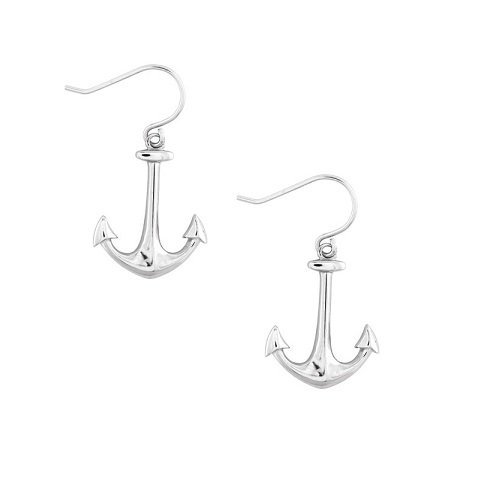 Solid Sterling Silver Rhodium Plated Anchor Dangle Earrings (Anchor Drop Earrings)