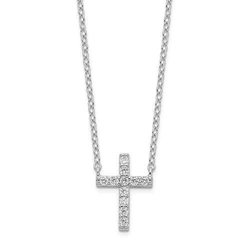 925 Sterling Silver Cubic Zirconia Cz Cross Religious 2 Inch Extension Chain Necklace Pendant Charm Fine Jewelry Gifts For Women For Her -