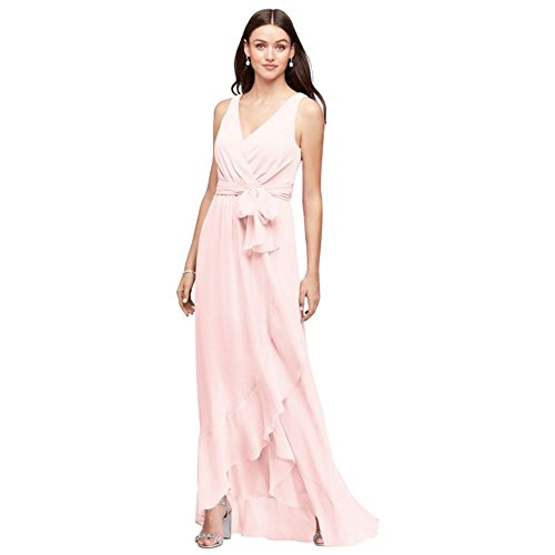 David's Bridal Ruffle-Trim Chiffon Faux-Wrap Bridesmaid Dress Style F19748, Petal, 26