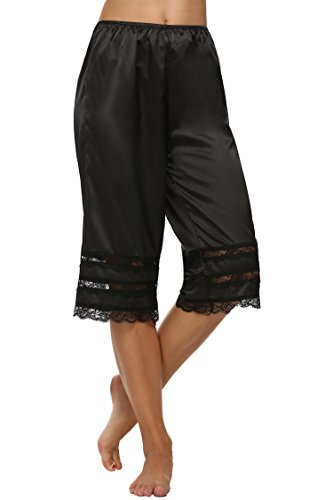 Lace Satin Bloomers - Goldenfox Women Satin Lace Pettipants Bloomers Snip-it Half Slips (Black, XL)