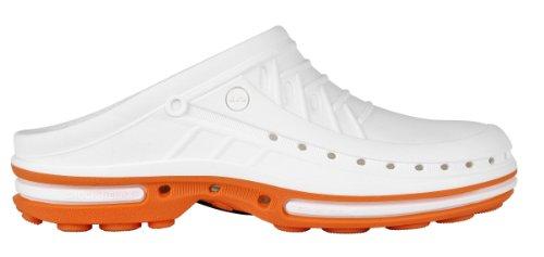Clog - Calzado de uso profesional WOCK - Esterilizable; Antiestático; Antideslizante; Absorción de Impactos Naranja/Blanco