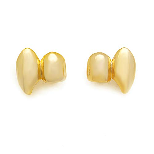 LuReen 14k Gold Silver Shiny Double Vampire Fangs Grills Top Bottom Teeth Grillz Combo (Gold Grillz -